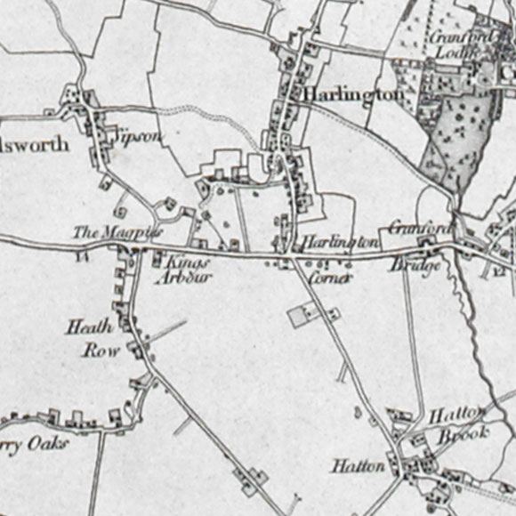 Ordnance Survey First Series map for Heathrow, Hatton