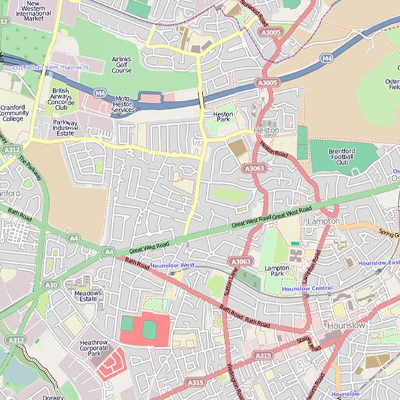 London map OpenStreetMap for Heston, Hounslow