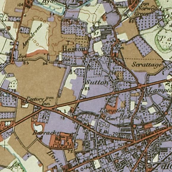 London map 1930s Land Utilisation Survey for Heston, Hounslow