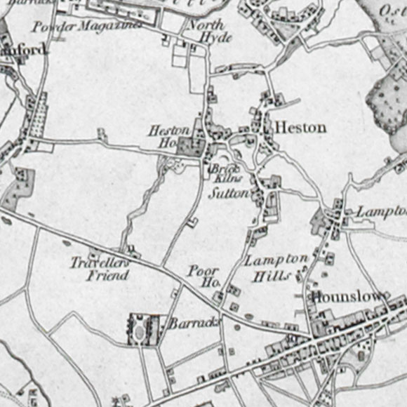 Ordnance Survey First Series map for Heston, Hounslow