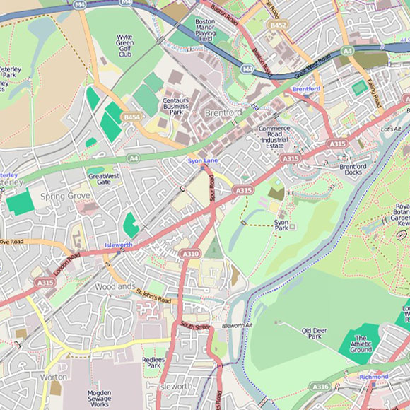 London map OpenStreetMap for Brentford, Isleworth, Richmond