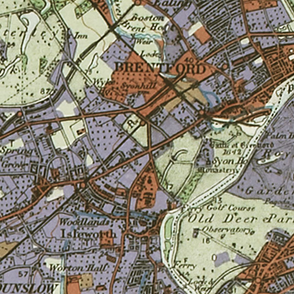 London map 1930s Land Utilisation Survey for Brentford, Isleworth, Richmond
