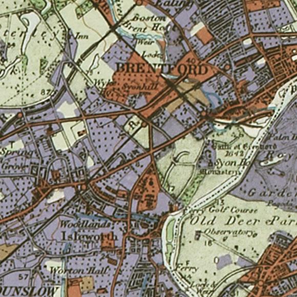 London map 1930s Land Utilisation Survey for Brentford, Isleworth, Richmond