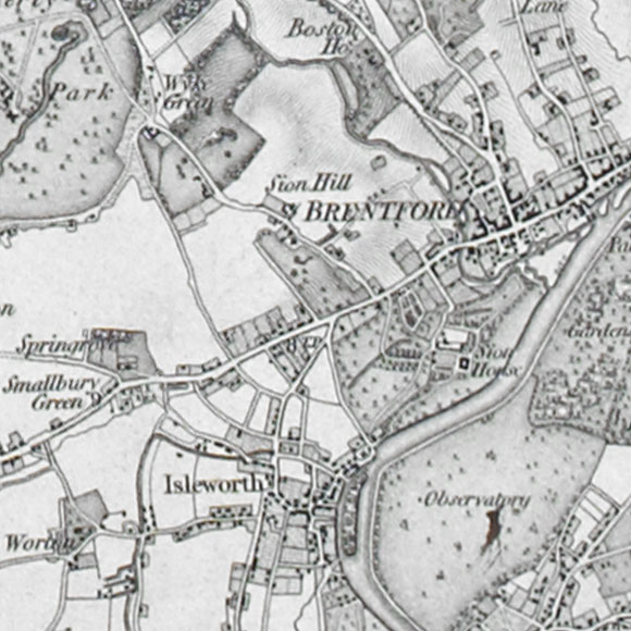 Ordnance Survey First Series map for Brentford, Isleworth, Richmond