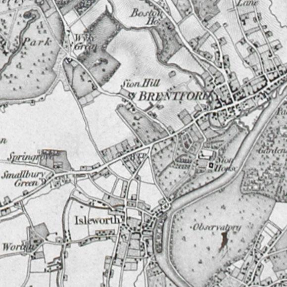 Ordnance Survey First Series map for Brentford, Isleworth, Richmond