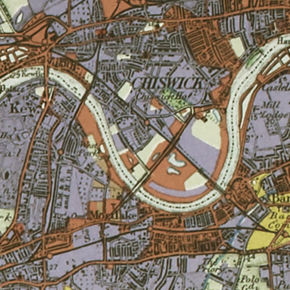 London map 1930s Land Utilisation Survey for Kew, Mortlake, Chiswick