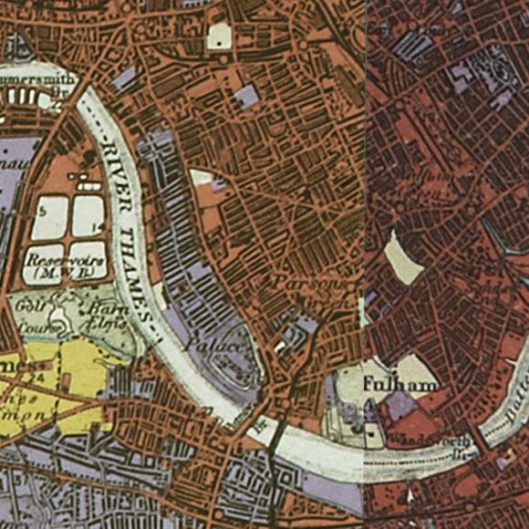 London map 1930s Land Utilisation Survey for Fulham, West Brompton, Putney