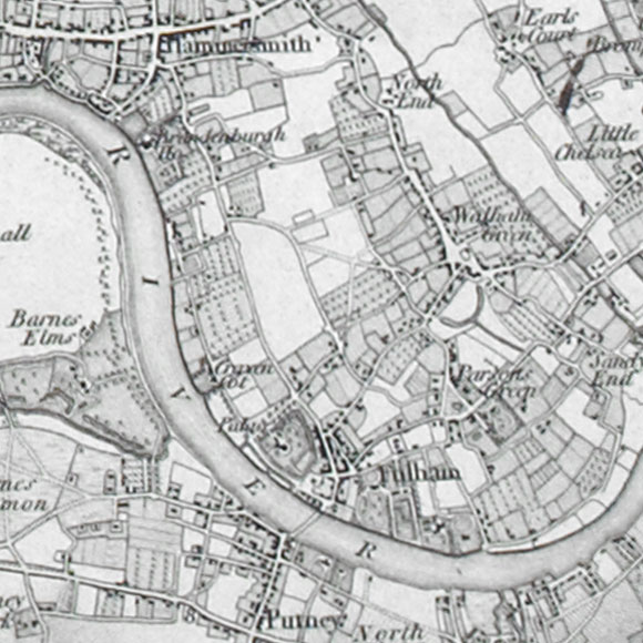 Ordnance Survey First Series map for Fulham, West Brompton, Putney