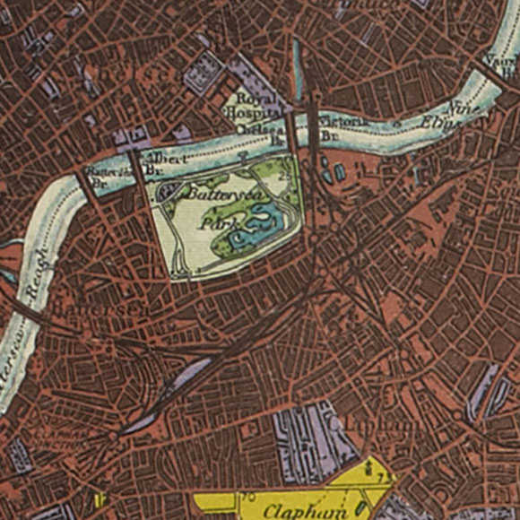 London map 1930s Land Utilisation Survey for Chelsea, Battersea, Clapham