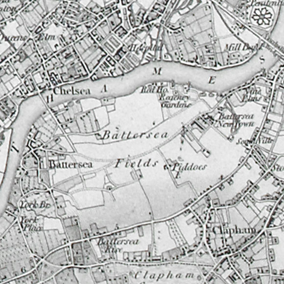Ordnance Survey First Series map for Chelsea, Battersea, Clapham