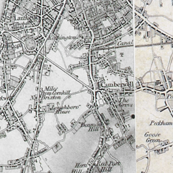 Ordnance Survey First Series map for Walworth, Brixton, Peckham
