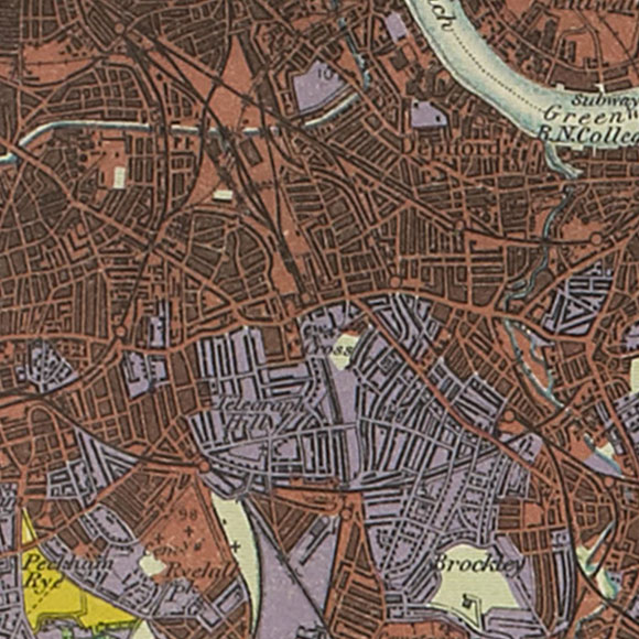 London map 1930s Land Utilisation Survey for New Cross, Brockley, Lewisham