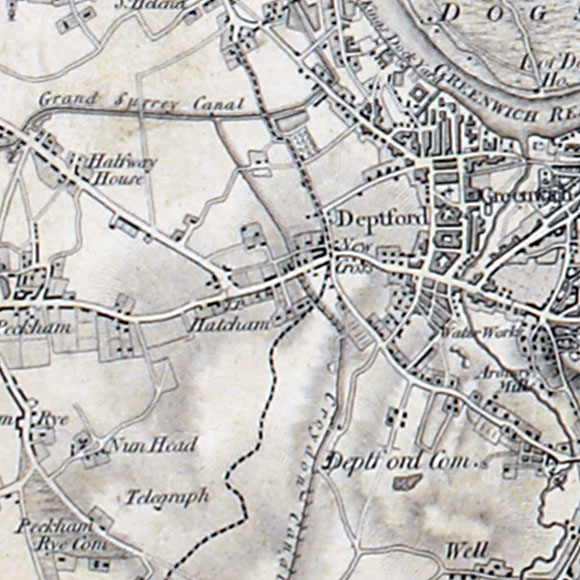 Ordnance Survey First Series map for New Cross, Brockley, Lewisham