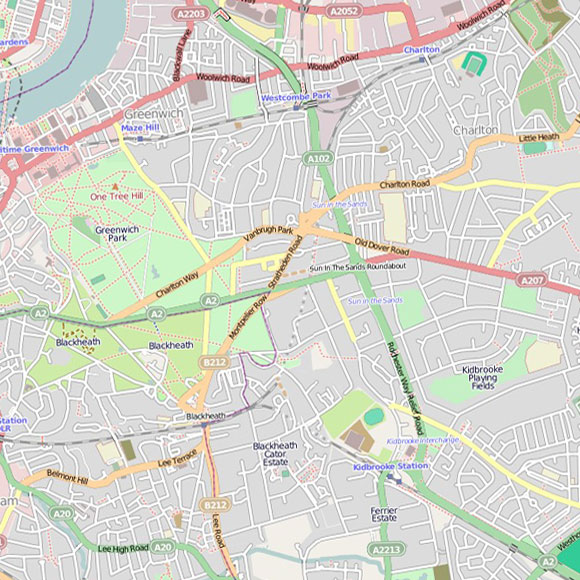London map OpenStreetMap for Greenwich, Charlton, Blackheath