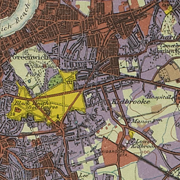 London map 1930s Land Utilisation Survey for Greenwich, Charlton, Blackheath