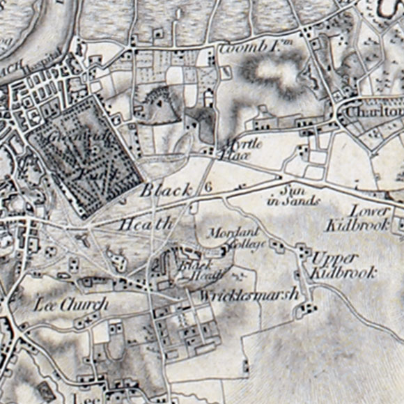 Ordnance Survey First Series map for Greenwich, Charlton, Blackheath