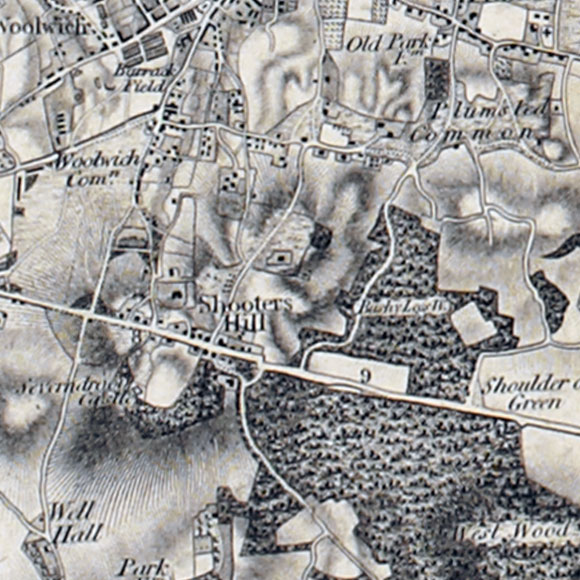 Ordnance Survey First Series map for Shooters Hill, Plumstead, Falconwood