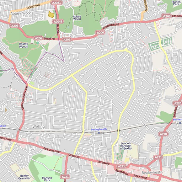 London map OpenStreetMap for Bexleyheath, Barnehurst