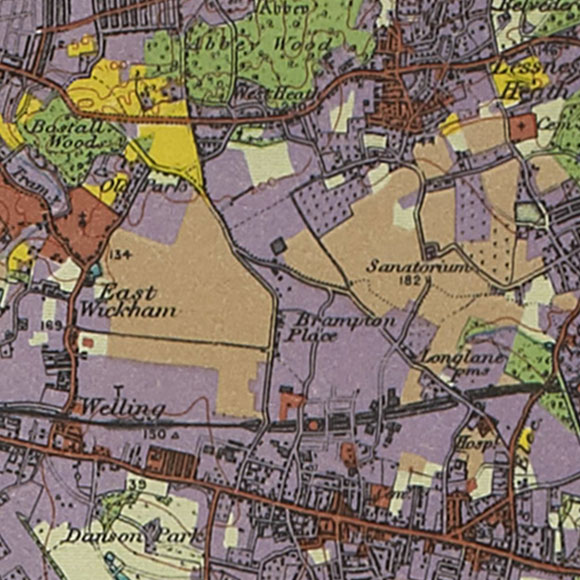 London map 1930s Land Utilisation Survey for Bexleyheath, Barnehurst