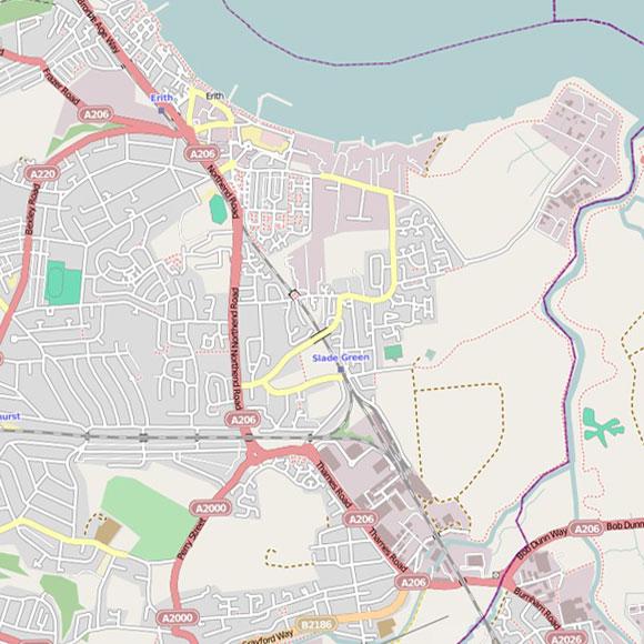 London map OpenStreetMap for Erith, Slade Green, Crayford