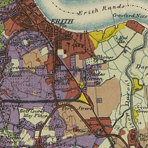 London map 1930s Land Utilisation Survey for Erith, Slade Green, Crayford