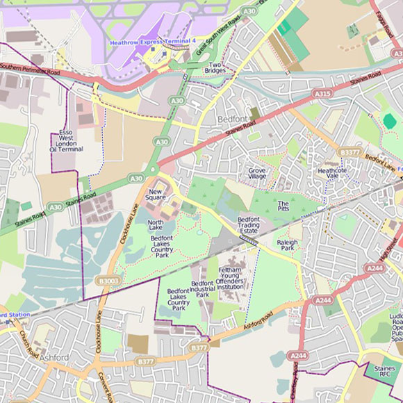 London map OpenStreetMap for Stanwell, Feltham