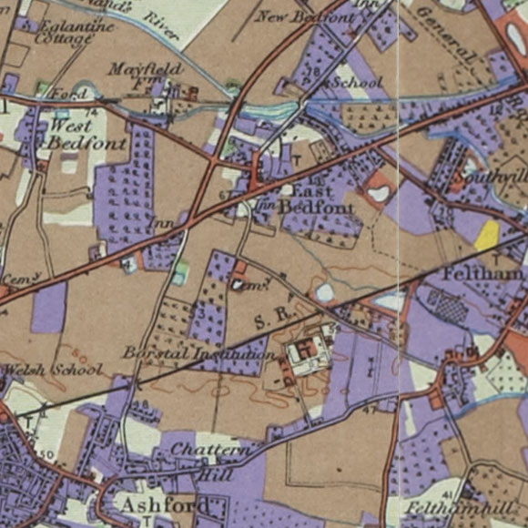 London map 1930s Land Utilisation Survey for Stanwell, Feltham