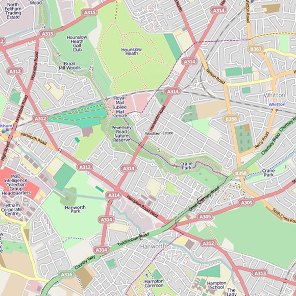 London map OpenStreetMap for Hounslow Heath, Whitton, Hanworth
