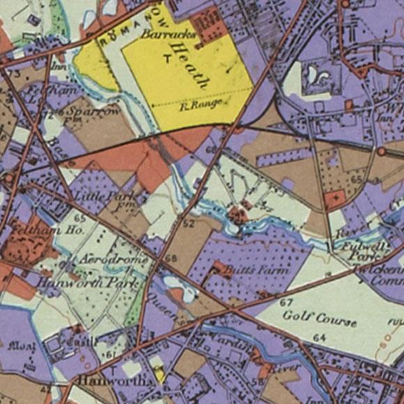 London map 1930s Land Utilisation Survey for Hounslow Heath, Whitton, Hanworth