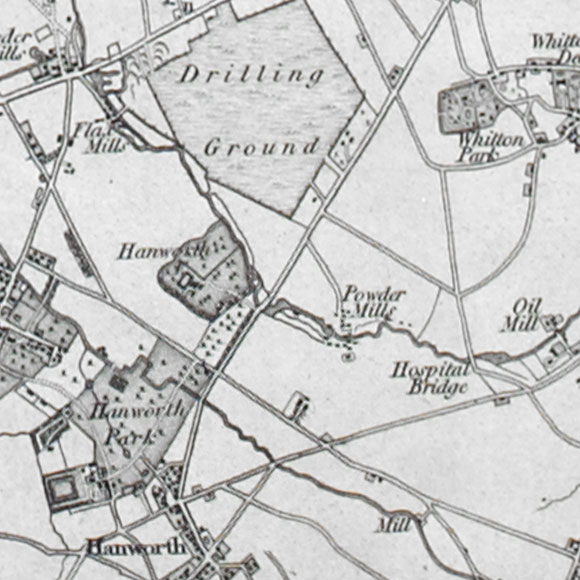 Ordnance Survey First Series map for Hounslow Heath, Whitton, Hanworth