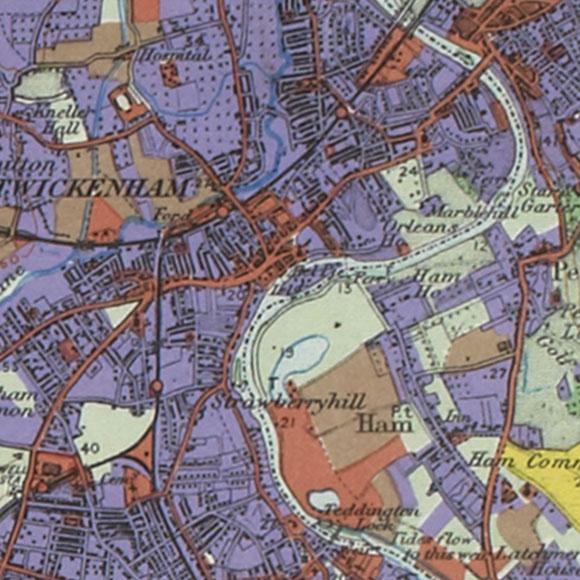 London map 1930s Land Utilisation Survey for Twickenham, Teddington