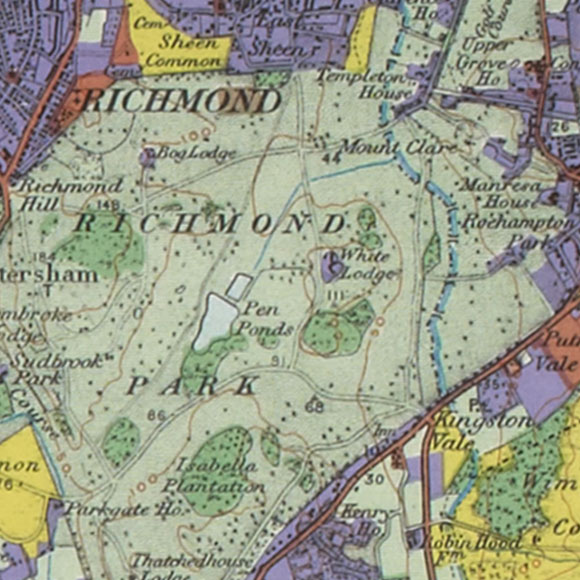 London map 1930s Land Utilisation Survey for Richmond Park, Kingston Vale