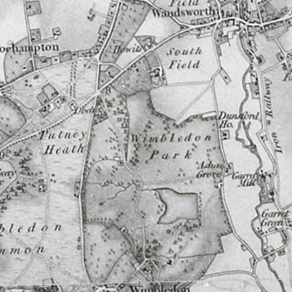 Ordnance Survey First Series map for Putney Heath, Wandsworth, Wimbledon Common