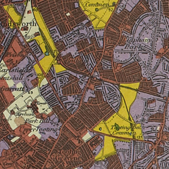 London map 1930s Land Utilisation Survey for Balham, Streatham, Tooting