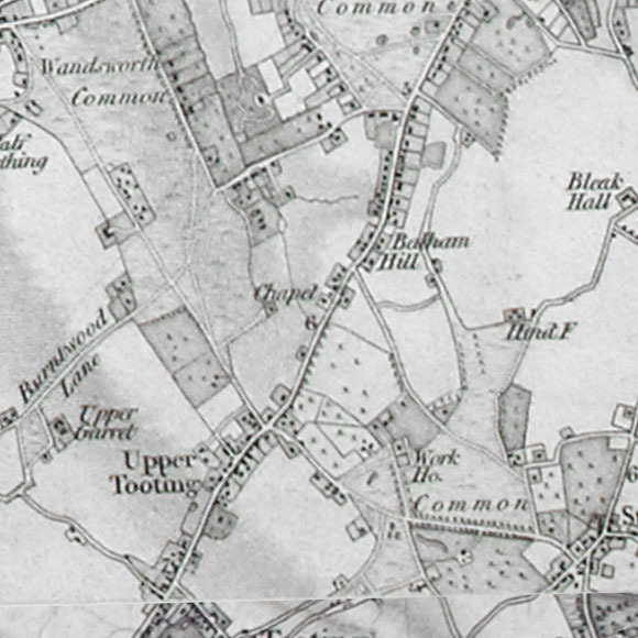 Ordnance Survey First Series map for Balham, Streatham, Tooting