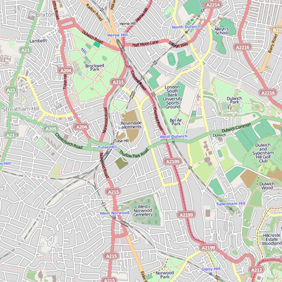 London map OpenStreetMap for Tulse Hill, Herne Hill, Dulwich