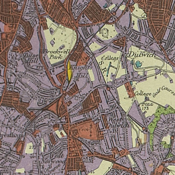 London map 1930s Land Utilisation Survey for Tulse Hill, Herne Hill, Dulwich