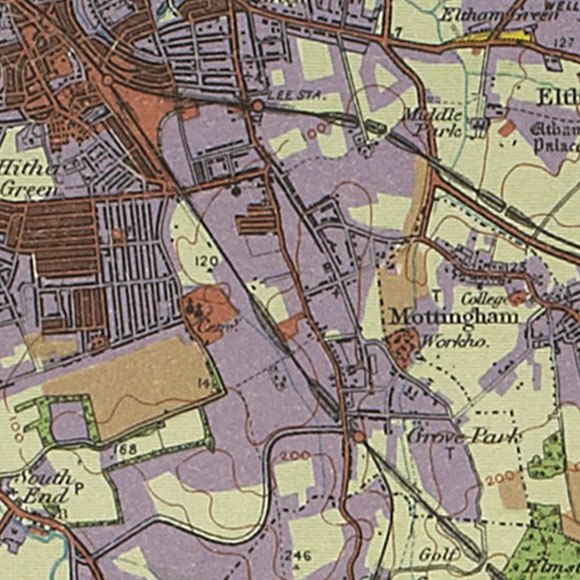 London map 1930s Land Utilisation Survey for Hither Green, Grove Park, Mottingham