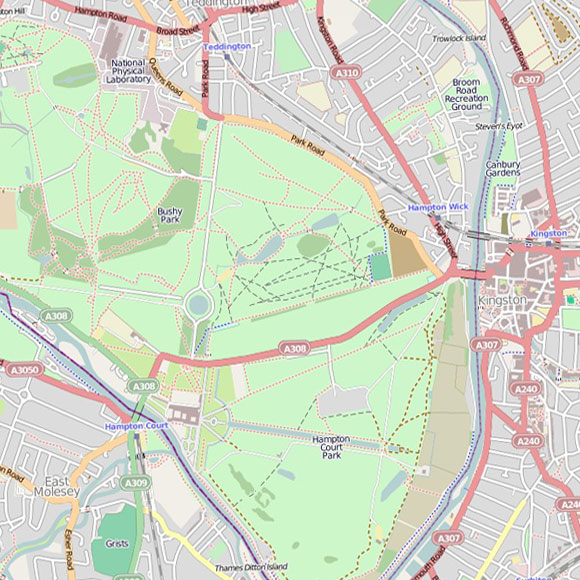 London map OpenStreetMap for Hampton Wick, Kingston
