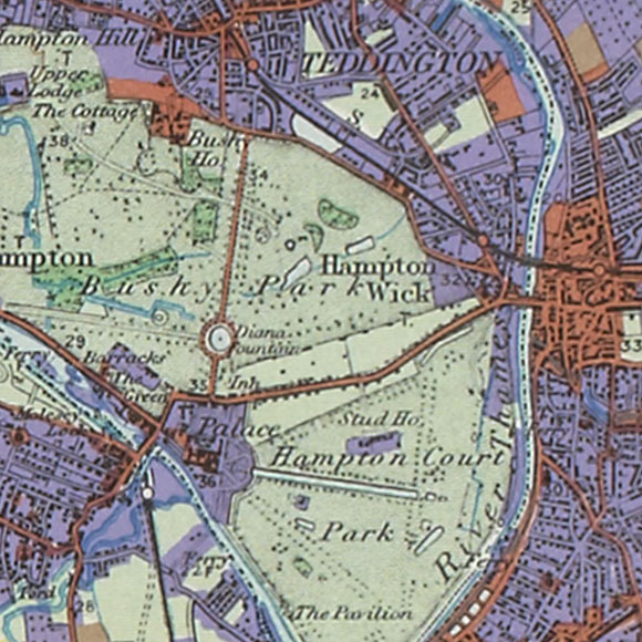 London map 1930s Land Utilisation Survey for Hampton Wick, Kingston