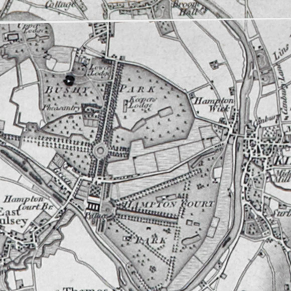 Ordnance Survey First Series map for Hampton Wick, Kingston