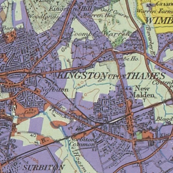 London map 1930s Land Utilisation Survey for Norbiton, New Malden