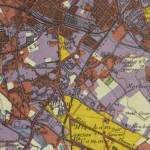 London map 1930s Land Utilisation Survey for Mitcham, Colliers Wood, Streatham Vale