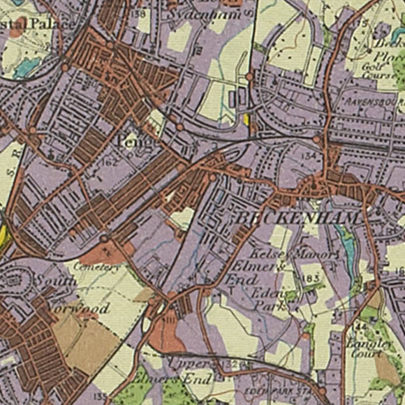London map 1930s Land Utilisation Survey for Penge, South Norwood, Beckenham