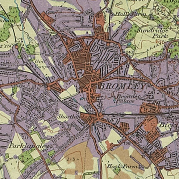 London map 1930s Land Utilisation Survey for Bromley, Widmore