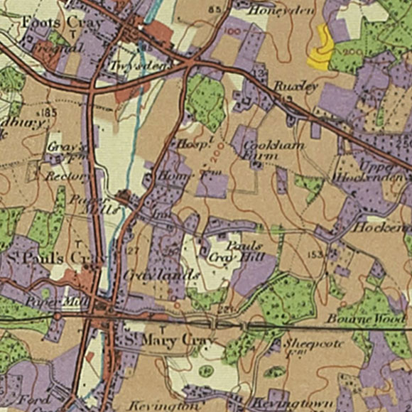 London map 1930s Land Utilisation Survey for St Mary Cray, Hockenden