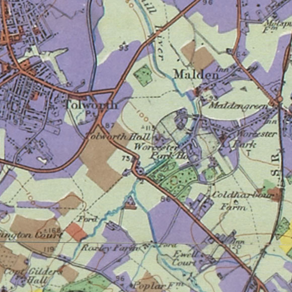 London map 1930s Land Utilisation Survey for Tolworth, Old Malden