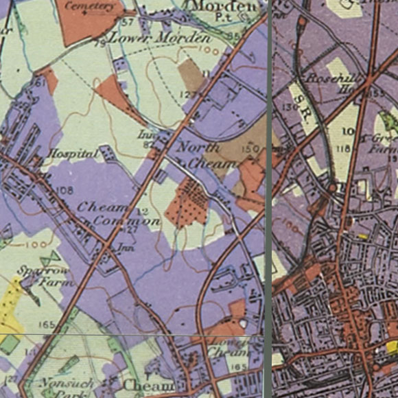 London map 1930s Land Utilisation Survey for North Cheam, Sutton