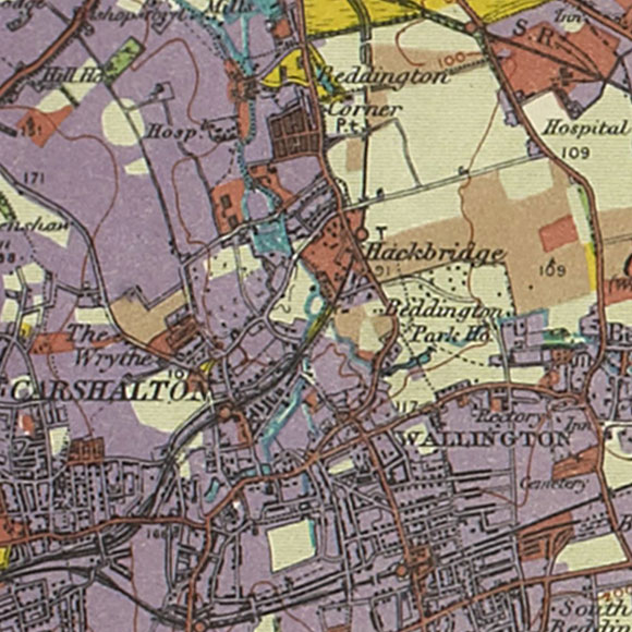 London map 1930s Land Utilisation Survey for Carshalton, Hackbridge