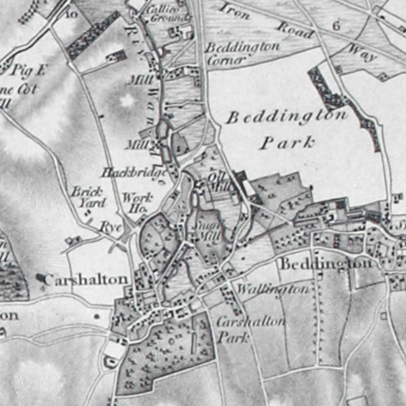 Ordnance Survey First Series map for Carshalton, Hackbridge